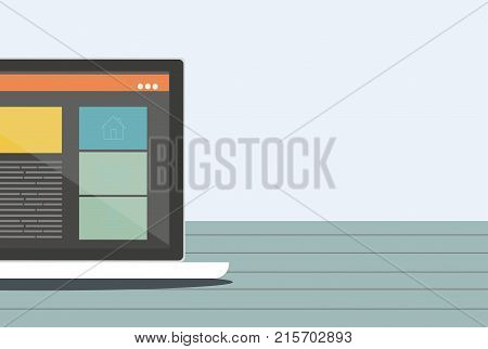 Laptop. Responsive web design on a laptop. Flat vector design style concept.