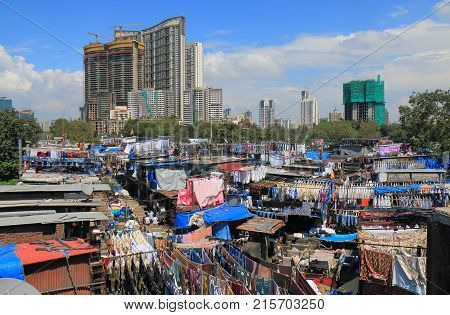 Dhobi Ghat Laundromat Cityscape In Mumbai India
