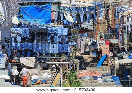 Dhobi Ghat Laundromat Traditional Life Mumbai India