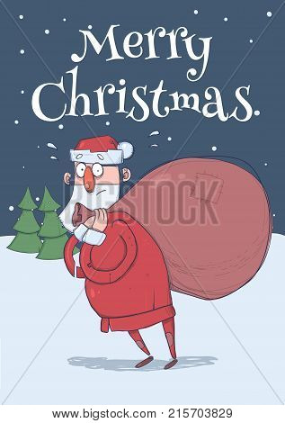 Christmas card of funny confused Santa Claus with big bag in the snowy night in front of spruce trees. Santa looks lost. Vertical vector illustration. Cartoon character. Lettering. Copy space.