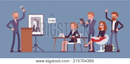 Auction public sale. Potential buyers making higher bids to get goods and property, participants and auctioneer announcing prices with gavel. Vector flat style cartoon business concept illustration