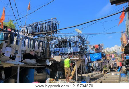 Mumbai India - October 12, 2017: Unidentified People Work In Dhobi Ghat Laundromat Mumbai.