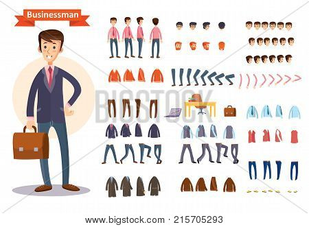 Man, businessman character creating cartoon vector set. Collection of faces, front, side and back view, emotions, hands and feet bent in different positions, formal and casual clothes and accessories