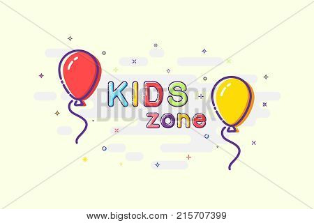 Kids zone sign in mbe design style. Vector balloons with Kids Zone words on sparkling background