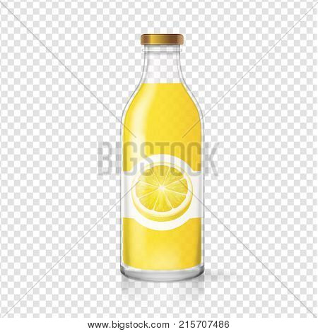 Lemon juice glass bottle with juice label. Fruit beverage packaging. Vector realistic.