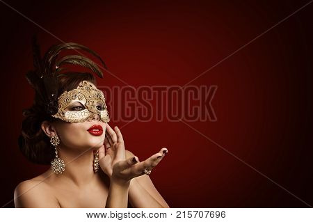 Woman Carnival Mask Jewelry Beauty Fashion Model in Masquerade Masque Girl Blowing Lips Air Kiss