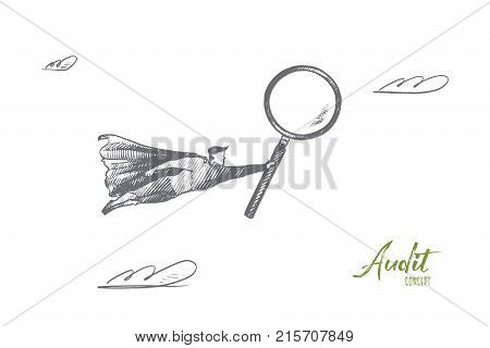Audit concept. Hand drawn superhero with magnifying glass in hand. Flying hero as symbol of professional auditor isolated vector illustration.