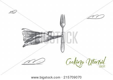 Cooking utensil concept. Hand drawn superhero with fork in his hand. Flying hero holds steel fork as symbol of cooking utensil isolated vector illustration.
