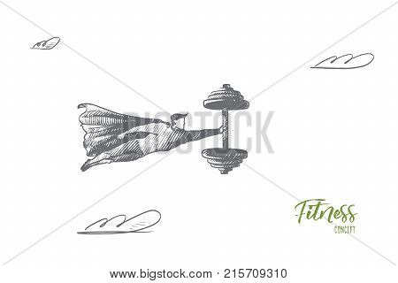 Fitness concept. Hand drawn superhero with dumbell in his hand. Flying hero holds big dumbell as symbol of strength isolated vector illustration.