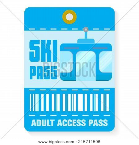 Ski pass with shadow. Flat Ski pass template vector for web isolated on white background