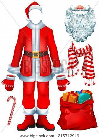 Santa Claus costume dress and Christmas accessories hat, mittens, beard, boots, bag with gifts, striped candy cane, scarf. Isolated on white vector cartoon illustration