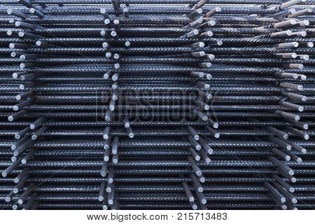 Steel Rebars for reinforced concrete.steel reinforcement bar texture in construction site. poster