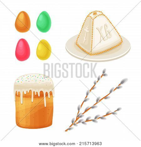 Easter colored festive decorated eggs, willow twig easter cake cottage cake. Isolated illustration white background.