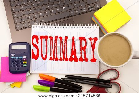 Word Writing Summary In The Office With Laptop, Marker, Pen, Stationery, Coffee. Business Concept Fo