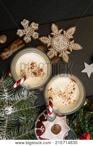 Eggnog, Winter Christmas Traditional Hot Drink With Milk, Eggs, Rum. Christmass New Year Decoration