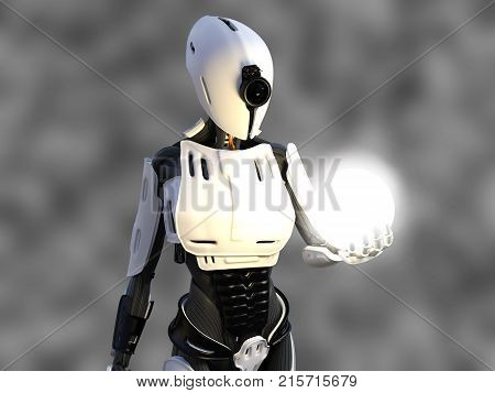 3D rendering of a female android robot holding a glowing sphere of energy or light in her hand against a gray background.