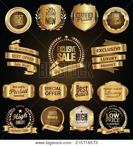 Golden Badges And Labelss With Golden Ribbon Vector Collection.eps