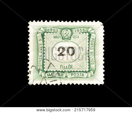 HUNGARY - CIRCA 1953 : Cancelled postage stamp printed by Hungary, that shows Numeral value.