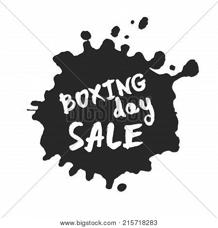 Calligraphy hand written Boxing Day Sale inside a black inky blot. Based on ink and brush artwork. Isolated on white background. Clipping paths included.