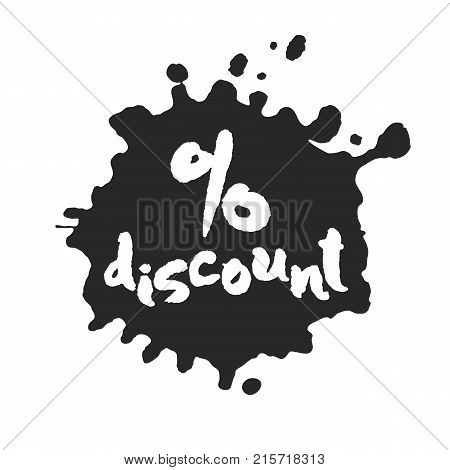 Calligraphy hand written percent discount inside a black inky blot. Based on ink and brush artwork. Isolated on white background. Clipping paths included.