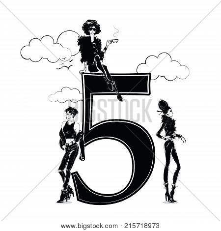 Fashion girls in sketch style with number five. Vector illustration.