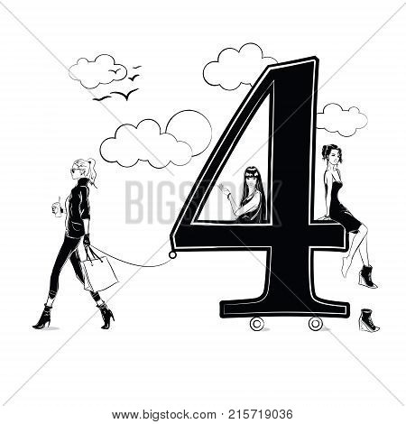Fashion girls in sketch style with number four. Vector illustration.