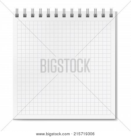 Vertical vector realistic square ruled notebook. School copybook with blank quad paper on metallic ring spiral binder personal organizer mockup or template for your text