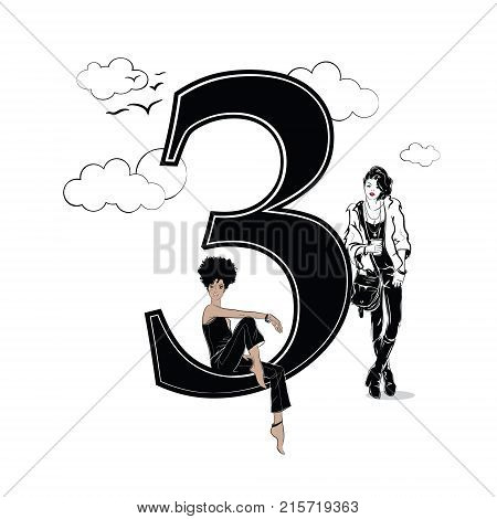 Fashion girls in sketch style with number three. Vector illustration.