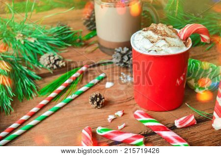 Hot Cocoa With Candy Canes.