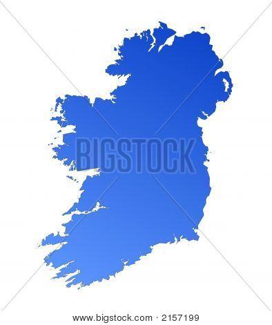 Blue Gradient Map Of Ireland