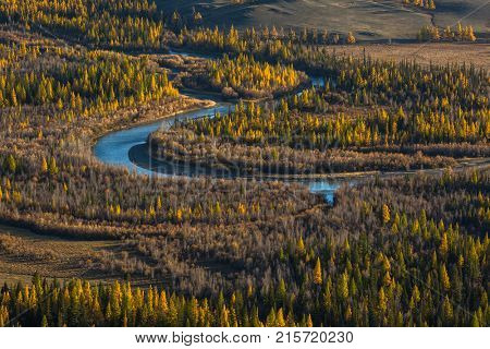 Top view of Chuya river at Altai mountains, Altai Republic, Russia.