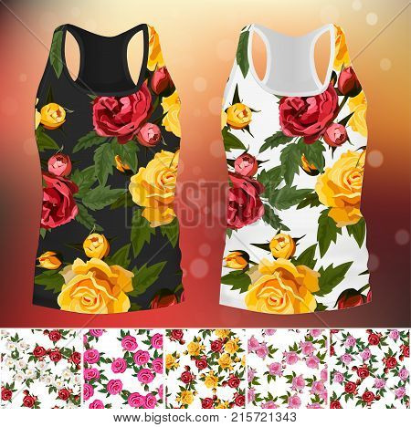 embroidery seamless rose pattens with t-short template. Romantic textile set