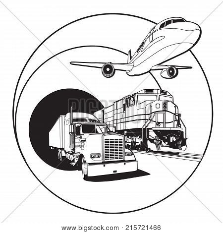 Simple black and white vector badge on transportations theme executed in retro print style. File doesn't contains gradients blends transparency and strokes or other special visual effects. You can open this file with any vector graphics editors.