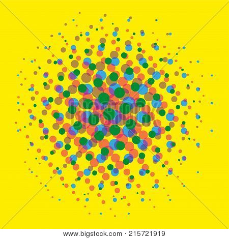 Bright yellow Dotted halftone spotted pop art comic texture on black background vector art