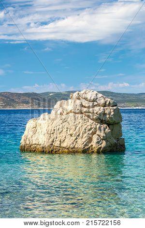 Rock In The Sea At The Beach In Baska Voda Resort On The Makarsk