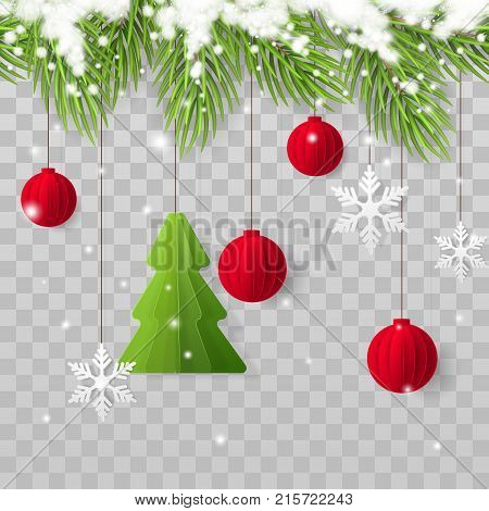 Vector horizontally seamless border with realistic Christmas tree branches, snow, paper fir tree, red xmas toys and snowflakes. Holiday decoration isolated from the transparent background.