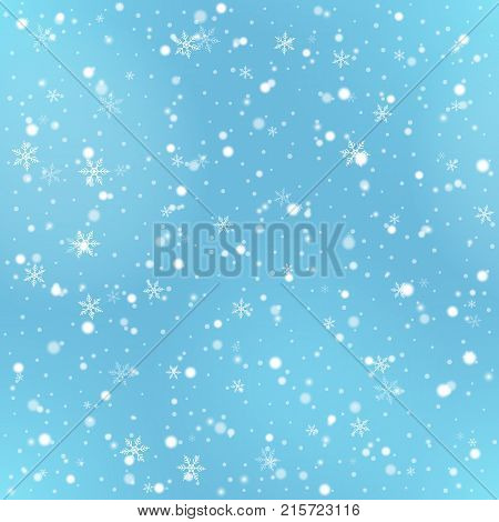 Vector seamless pattern with falling Christmas snow. Holiday blue background with snowfall and snowflakes for for printing on fabric, paper for scrapbooking, gift wrap.