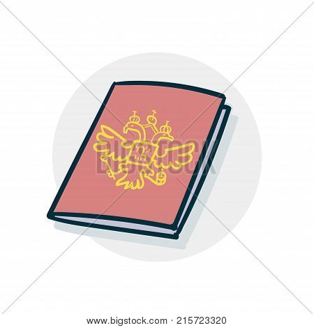Russian passport icon. Vector illustration of a funny cartoon style