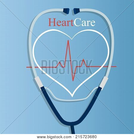 Original trendy vector illustration of realistic Stethoscope . Medical equipment collection. Heart care. Stethoscope with heart and heart rate illustration