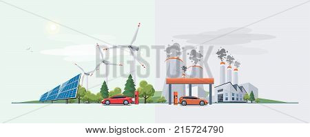 Electric Car Versus Fossil Fuel Energy Source