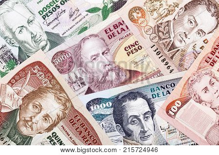 Colombian money, a background with Colombian Pesos