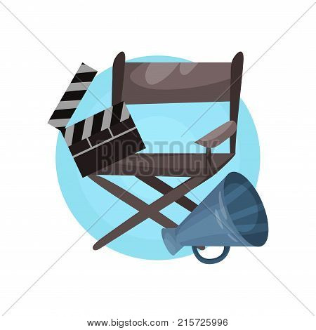 Film director profession icon, cinema Industry equipment cartoon vector Illustration isolated on a white backgroun