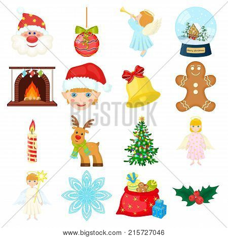 Christmas attributes and accessories cartoon icons in set collection for design. Merry Christmas vector symbol stock illustration.
