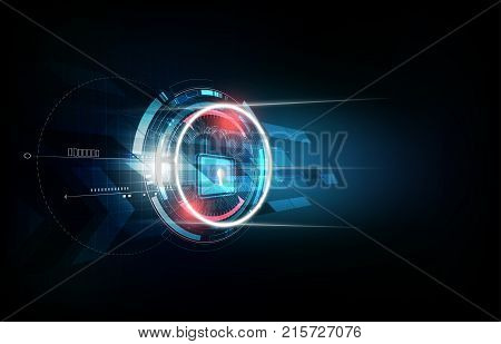Padlock with security lock concept and futuristic electronic technology background, vector illustration