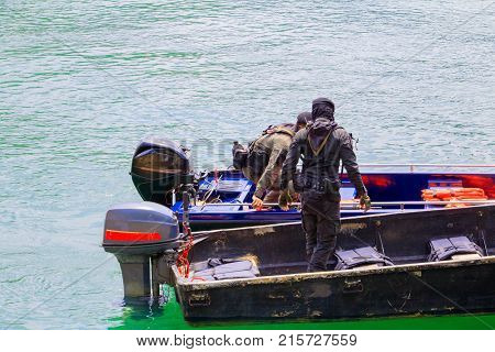 soldier on Boat in river with copy space add text