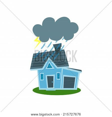 House struck by lightning, property insurance vector Illustration isolated on a white background