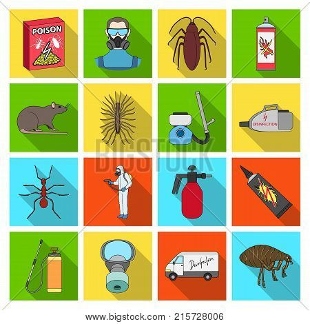 Pest, poison, personnel and various equipment flat icons in set collection for design. Pest control service vector symbol stock illustration.