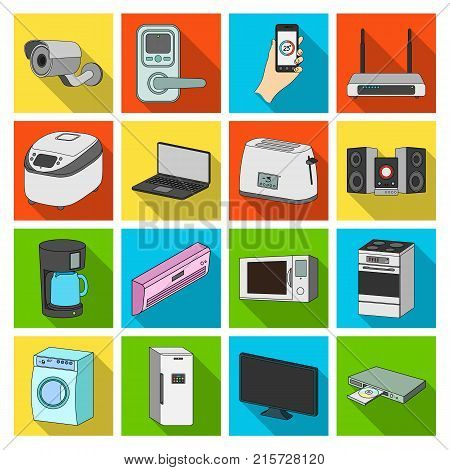 Modern household appliances flat icons in set collection for design.Household items vector symbol stock  illustration.