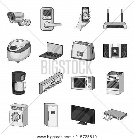 Modern household appliances monochrome icons in set collection for design.Household items vector symbol stock  illustration.