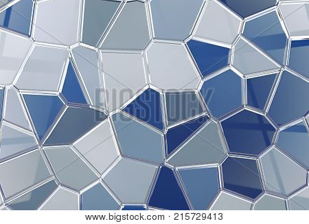 3D abstract render background in blue tones.